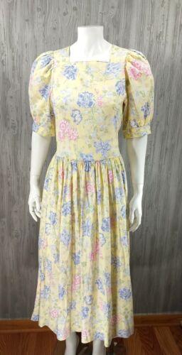 Vintage Laura Ashley Prairie Maxi Dress Midi Shabb