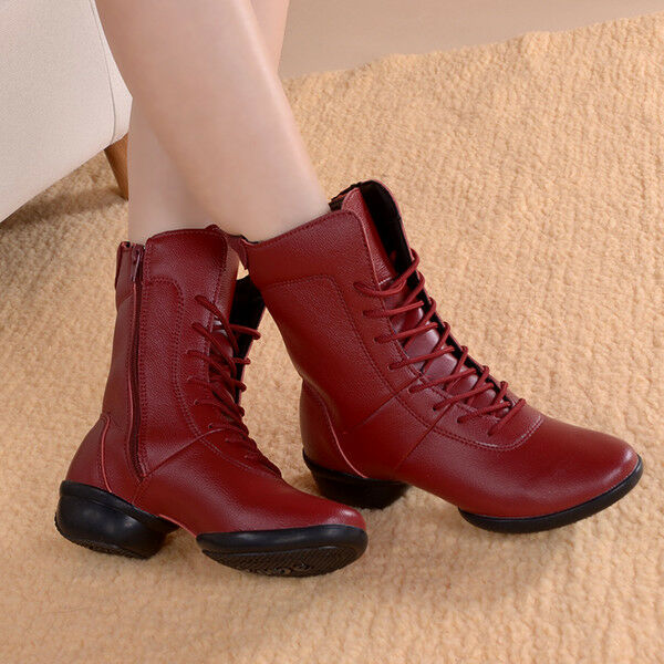 Bottes Rangers Basses Confortable 4 rouge Bordeaux Cuir Synthetique Cw759