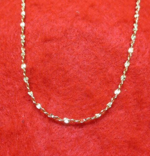 14KT  GOLD EP 24 INCH 2MM TWISTED NUGGET DESIGNER CHAIN NECKLACE