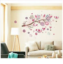 Pink Flower Tree Branch Bird Wall Stickers Decals Mural Home Art Decor