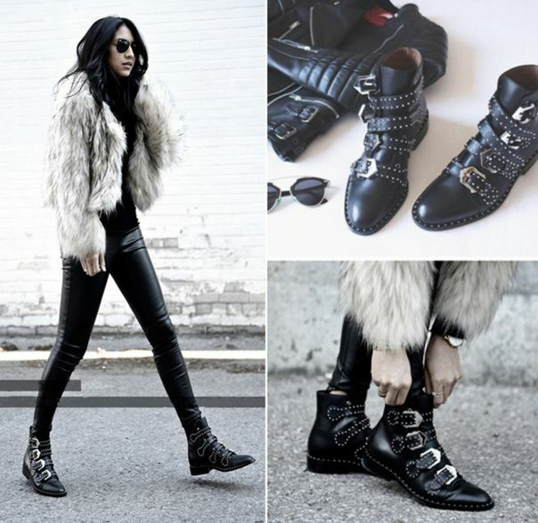 Womens leather rivets buckle ankle Biker boots punk pointed pointed pointed toe motorcycle shoes 1742cc