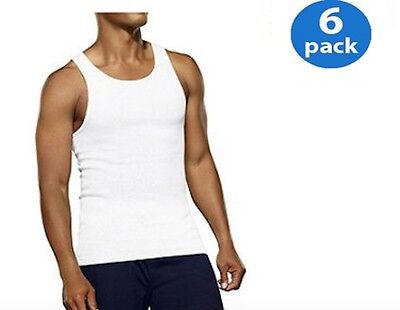 Fruit of the Loom Men/'s A-Shirt 100/% Cotton Tank Top White Undershirt XL 6 Pack