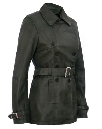 Ladies Leather TRENCH Coat GreenMid-Length Coat Classic Leather Jacket