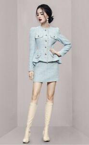 Blue Aqua Tweed Plaid Fringe Peplum Blazer veste tailleur ensemble tenue chic