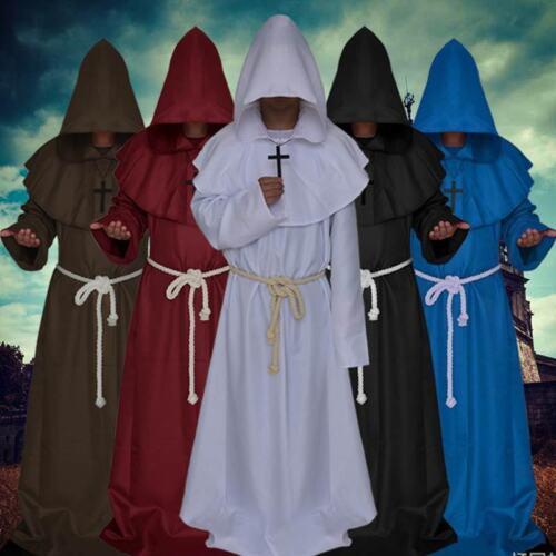 Renaissance Medieval Monk Friar Priest Druid Hooded Cosplay Costume Cloak Robe