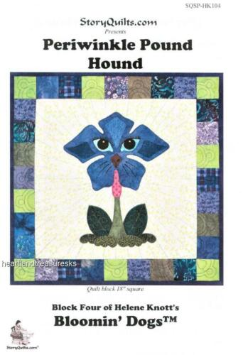 """Periwinkle Pound Hound Dog  Applique Sewing ~ Quilt Pattern Block    18/"""" Square"""