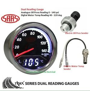 s l300 saas trax dual twin reading gauge oil press 0 140 psi & water temp saas tachometer wiring diagram at bayanpartner.co