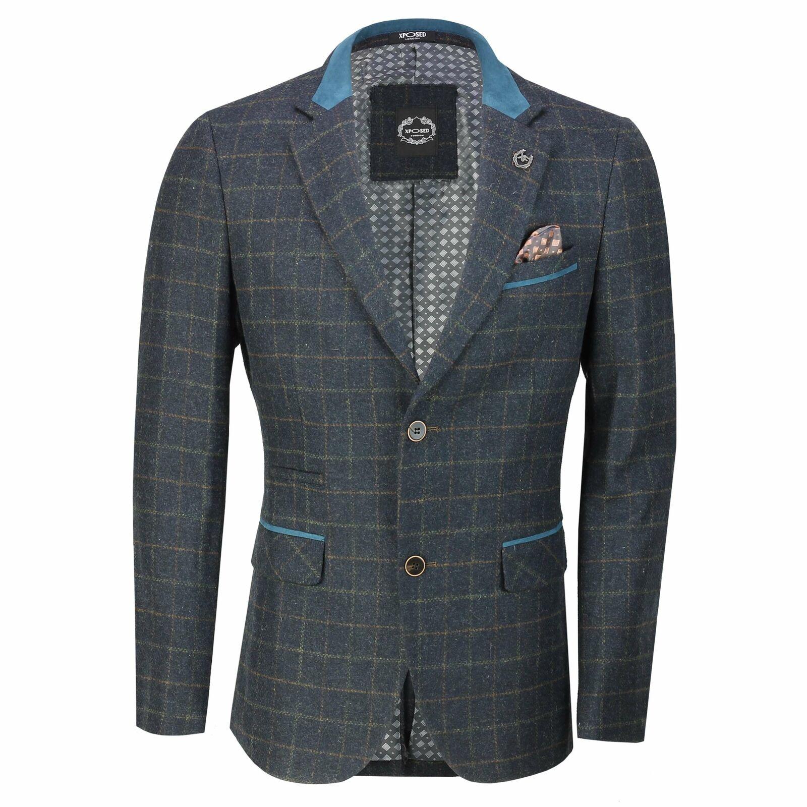 New herren Vintage Blau wolleBlend Tweed Check Herringbone Blazer Designer jacke