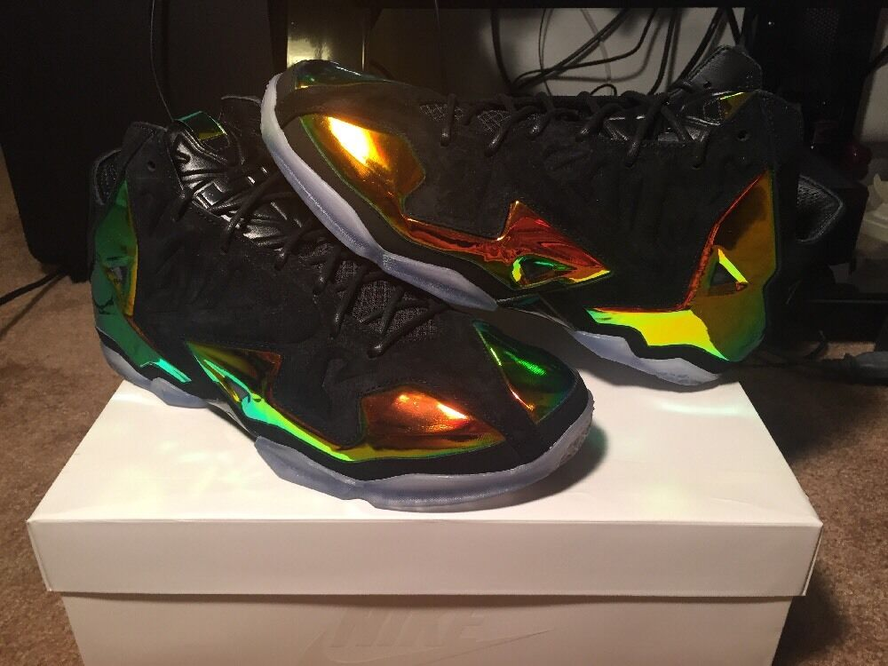New Nike Lebron XI Ext QS King's Jewel Black Metallic Gold Size 10.5