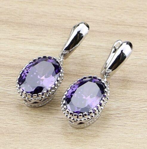 925 Sterling Silver Amethyst Earrings Dangle Oval Drop Earrings EAR-108