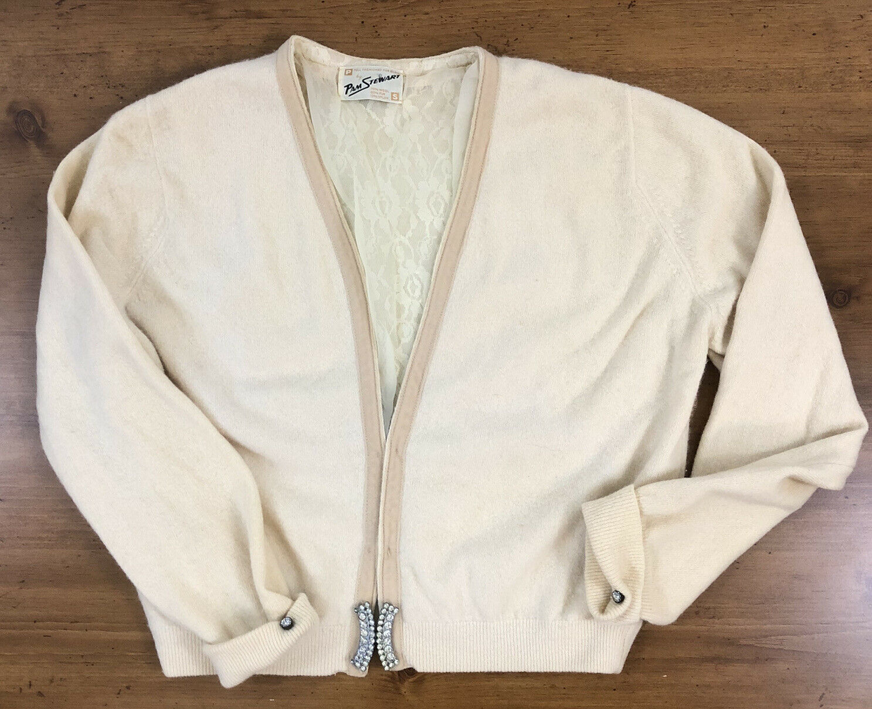 PAM STEWART Wool Fur Blend VTG Sweater Cardigan Womens S Rhinestone 50s Chiffon