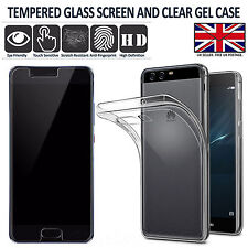 HUAWEI P10 - SLIM CRYSTAL CLEAR GEL CASE COVER + TEMPERED GLASS SCREEN PROTECTOR