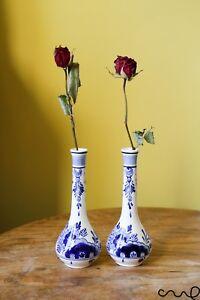 Set-2-Blue-White-Hand-Painted-Ceramic-Delfts-Long-Necked-Decorative-Vase-Floral