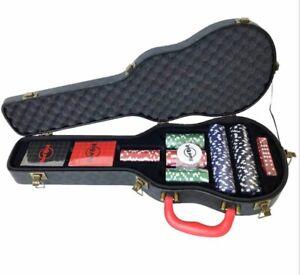 Super-Scarce-Rare-2020-US-Hard-Rock-Cafe-Unique-Guitar-Shaped-Poker-Case-Set-NEW
