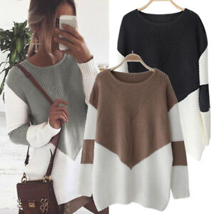 Casual-Loose-Long-Sleeve-Sweater-Womens-V-neck-Knitwear-Pullover-Jumper-Tops-UK