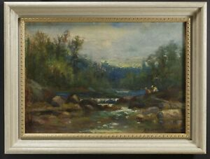 Allan Rutherford Wilber, New Brunswick Canada,Landscape with Brook c1890s Oil