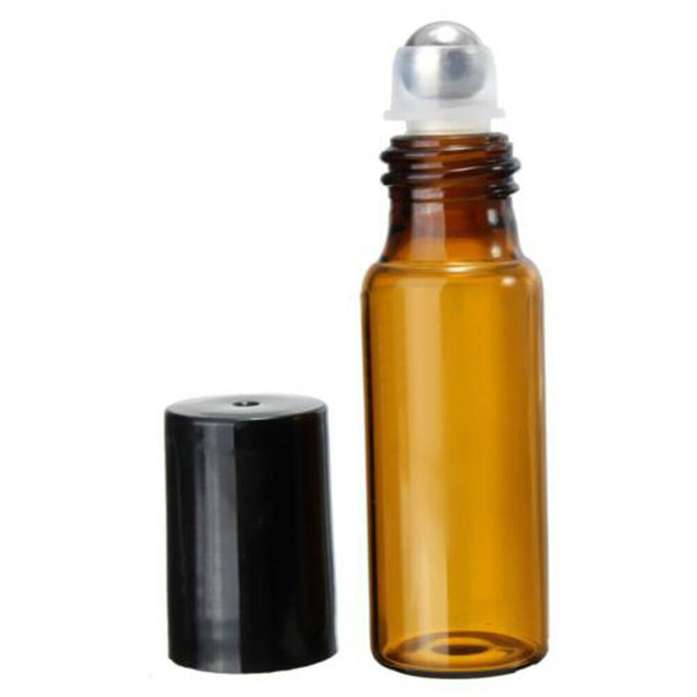 EP_ 10Pcs Amber Roll On Glass Bottles Roller Ball For Perfum