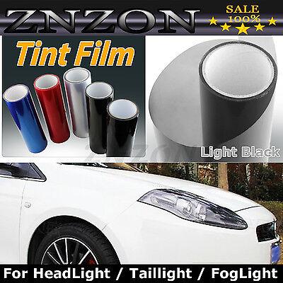 """12""""X78"""" Light Black Headlight Fog Light Taillight Tint Vinyl Film Sheet Sticker"""