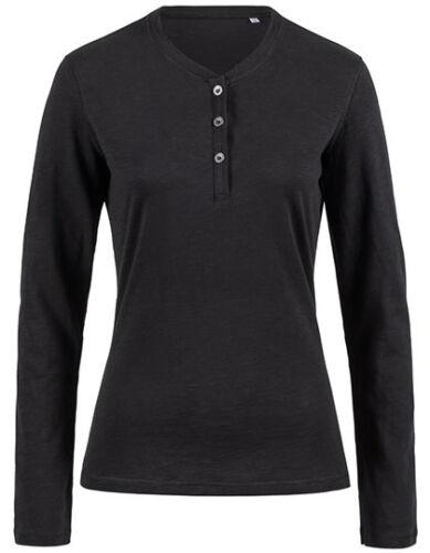 Femmes Henley Chemise manches longues 3 Boutonnage Coton Taille S-XL Noir Blanc s9580