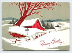 Vintage Art Red Winter Barn Holiday Greetings Litho Christmas Postcard 1950s