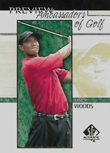 Details About 2001 Upper Deck Ud Golf Sp Authentic Preview Tiger Woods Rookie Card Rc 51