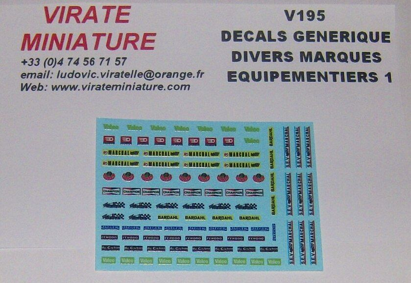 V195 DECALS GENERIQUE DIVERS EQUIPEMENTS VALEO,FACOM,MARCHAL, ETC... VIRATE