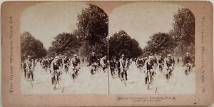 Gara-A-Bicicletta-Brooklyn-USA-Foto-Stereo-Vintage-Albumina-1896
