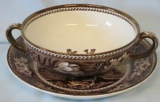 Wedgwood Fallow Deer Brown with Gold Cream Soup Cup & Saucer
