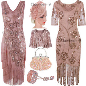 f6b2b3e6839 Rose Gold Party Cocktail Dress Evening Gown Prom 20s Fringe Dresses ...