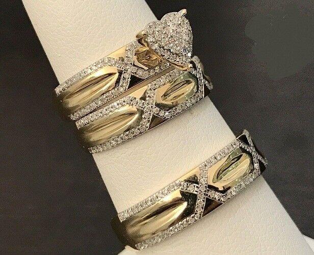 Yellow gold Over His & Her Round Cut White Diamond Wedding Bridal Trio Ring Set