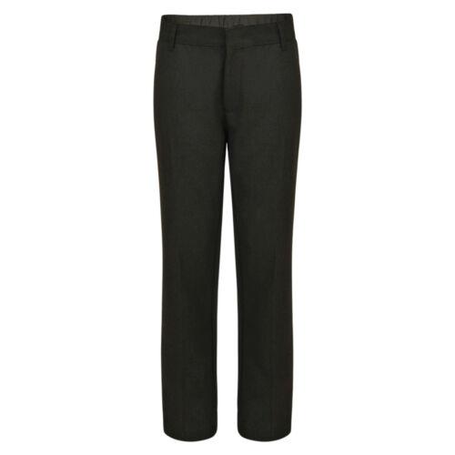 SCUOLA Per Ragazzi Pantaloni piatto frontale EX UK Store 3-16 Anni Nero Grigio Antracite Nuovo