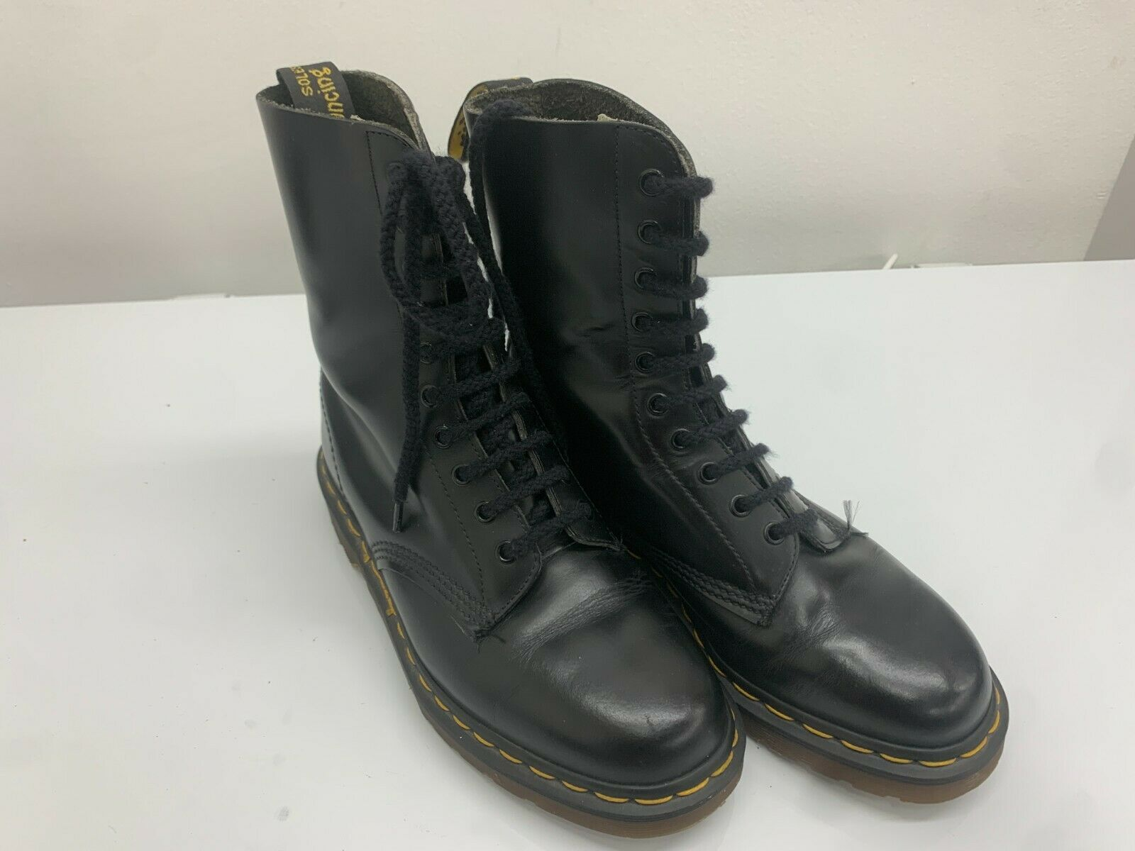 Doc Dr Martens Boots, 10 Eyelets, Black Shiny Leather, Size 7UK, Made In England