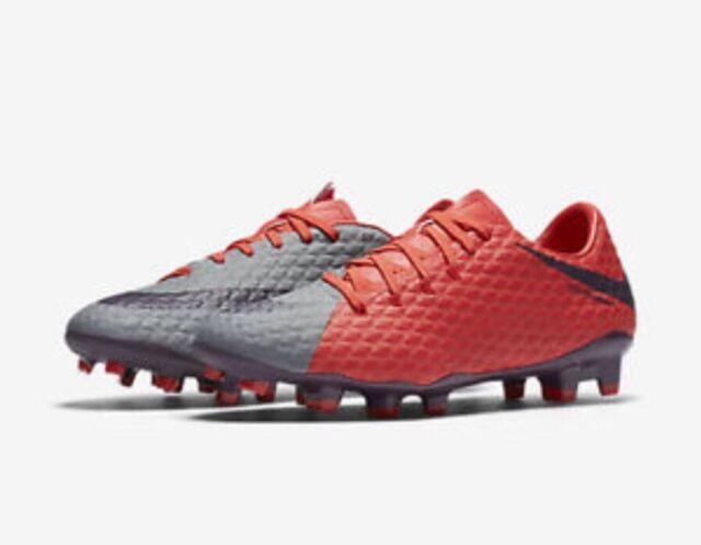 8ccde3b58 Nike Women Hypervenom Phelon 3 III FG Soccer Shoes Gray Red 881542 ...