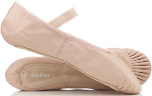 PINK-Leather-Ballet-Shoes-Child-039-s-amp-Adult-039-s-Sizes-Full-Sole-Pre-Sewn-Elastics