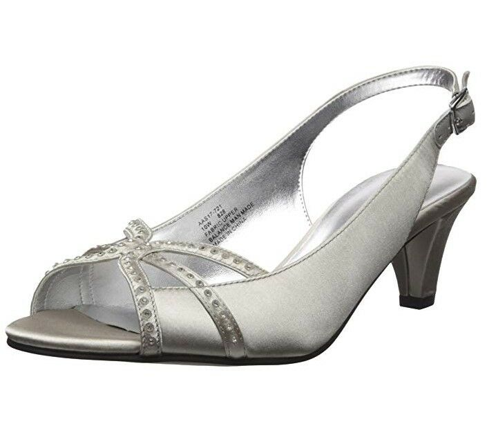 David Tate Regal Women's Pump Heels Silver Satin Fabric Rhinestone US 7