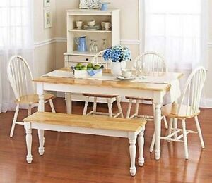 Image Is Loading 6 Pc White Dining Set Dinette Sets Bench