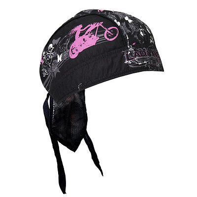 Pink Black Lady Rider Biker Premium Headwrap Sweatband Vented Mesh Lined Studed