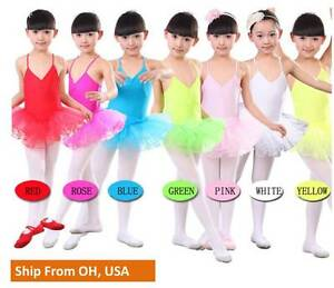 c110b9d954a1 KID GIRLS 3 LAYER TULLE DANCE BALLET LEOTARD DRESS SKATING TUTU ...