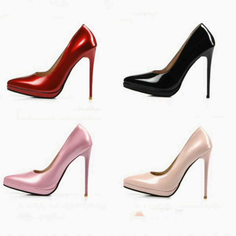 Ladies Pointed shoes Shiny Synthetic Leather High Heels Party Pumps UK Size S535