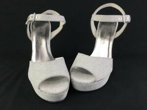 Stuart Weitzman Sashay Plata Glitterati Platform Sandals Size 6m D2453/ Women's Shoes