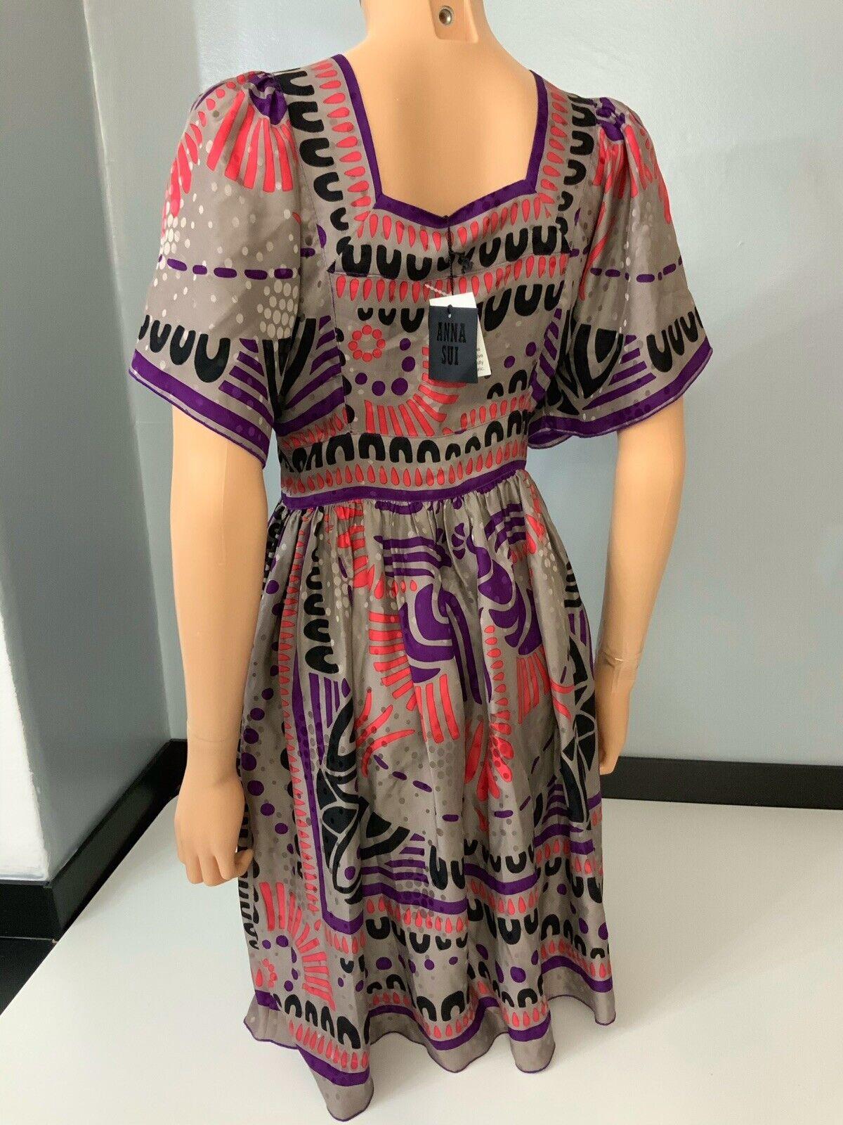 Anna Sui Sui Sui New Bnwts Größe Us0 Uk 6 lila 100% Silk 6cea9e