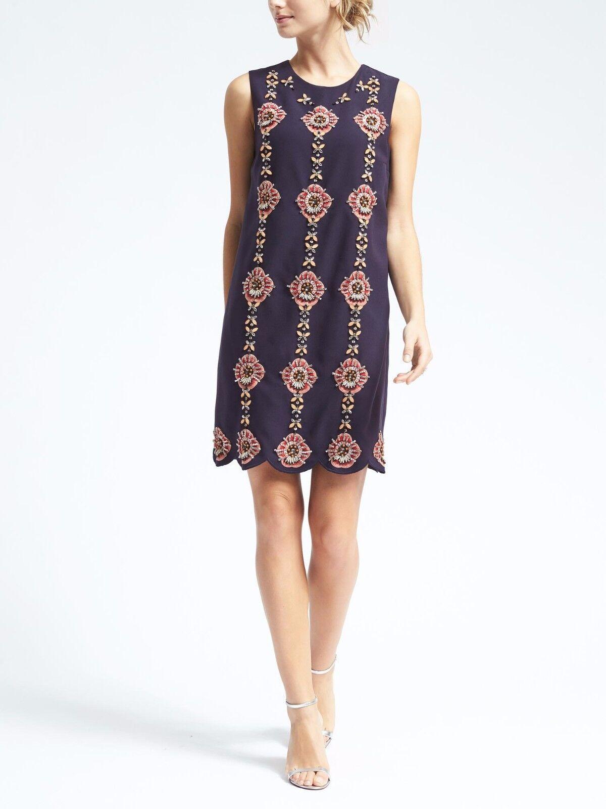NWT BANANA REPUBLIC Embellished Shift Dress, Navy  Größe M       v1124