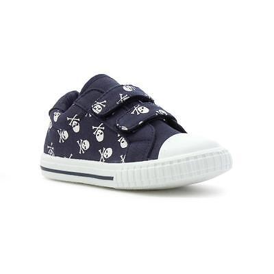 Salir Niños Zapato De Lona Azul Marino Calaveras fácil fijar