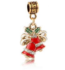 1pcs 18k Gold Christmas bells Charm Pendant fit European Silver Bracelet #E441