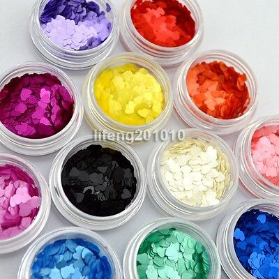 12 Color Nail Art Acrylic Glitter Sequins Powder Set Decoration Tool Heart Shpae