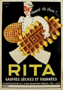 Vintage-Print-Paper-Poster-Canvas-Art-Painting-Rita-Waffles-advert