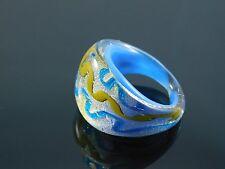 "Beautiful Murano Glass Silver Foiled Lampwork Handmade Sky Blue Ring US 6.5"""