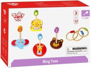 Tooky Toys Bague Tirage au Sort 12 Pièce Animal Visages Bois Ensemble de Jeux