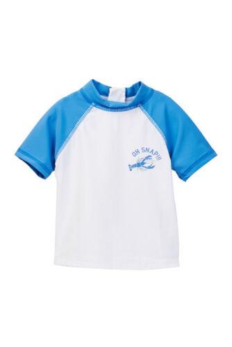 JOE FRESH Infant//Toddler Short Sleeve UV Rash Guard White Blue Lobster Oh Snapp