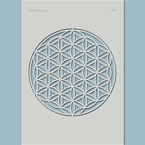 Schablone-Blume-des-Lebens-Leinwand-Textil-Mixed-Media-Holz-7510